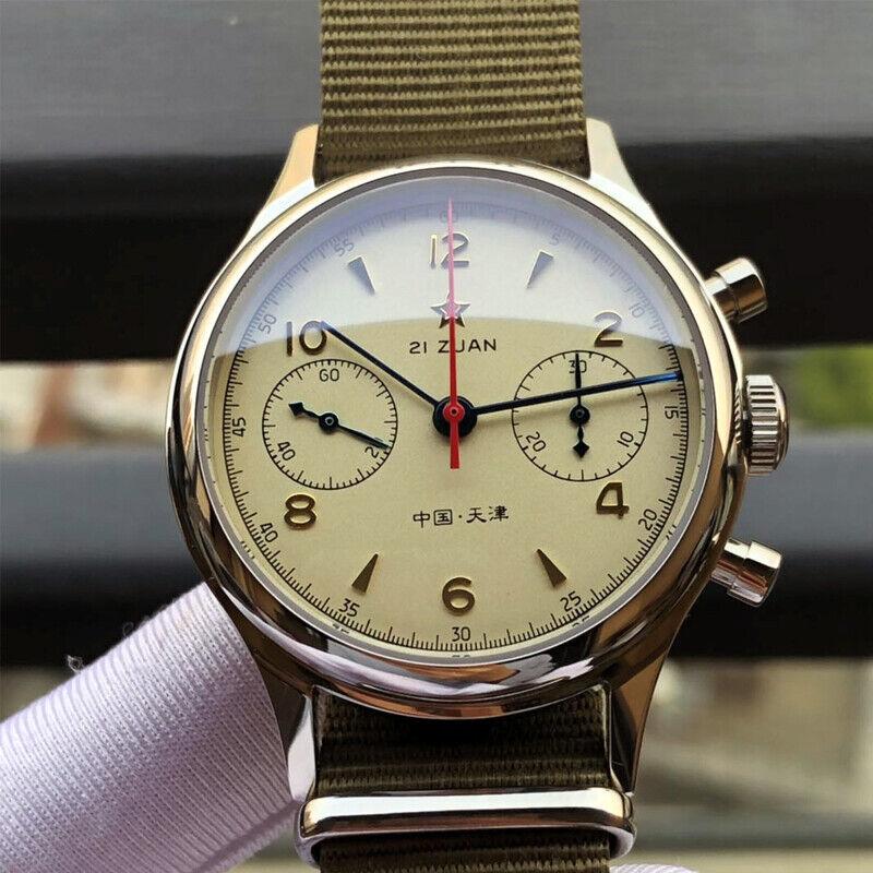 1963 Seagull Vintage Pilot Watch Sapphire Crystal ST19 Handwound Movt cream dial