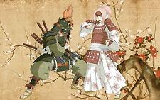 Framed Print - Japanese Art Samurai and Geisha (Picture Poster Sword Fighting)