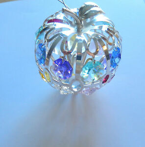 Ornament-Apple-Austrian-Crystals-silver-plated-18-multi-color-crystals