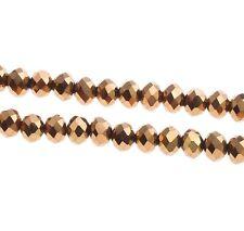 25 TSCHECHISCHE KRISTALL GLASPERLEN FACETTIERT 6mm Fire-Polished Gold Braun X32