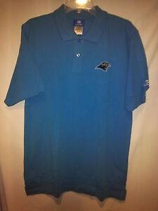 b1f98c6a0 Image is loading Carolina-Panthers-Reebok-Small-Collared-Blue-Polo-Shirt-