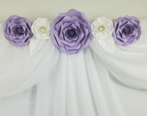 Decor In The Box 7 piece Handmade Paper Flower Set Fully Assembled-Purple//White