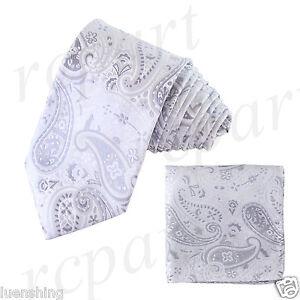 New Men's Brand Q Microfiber Neck Tie Necktie & Hankie Set Paisley Ivory