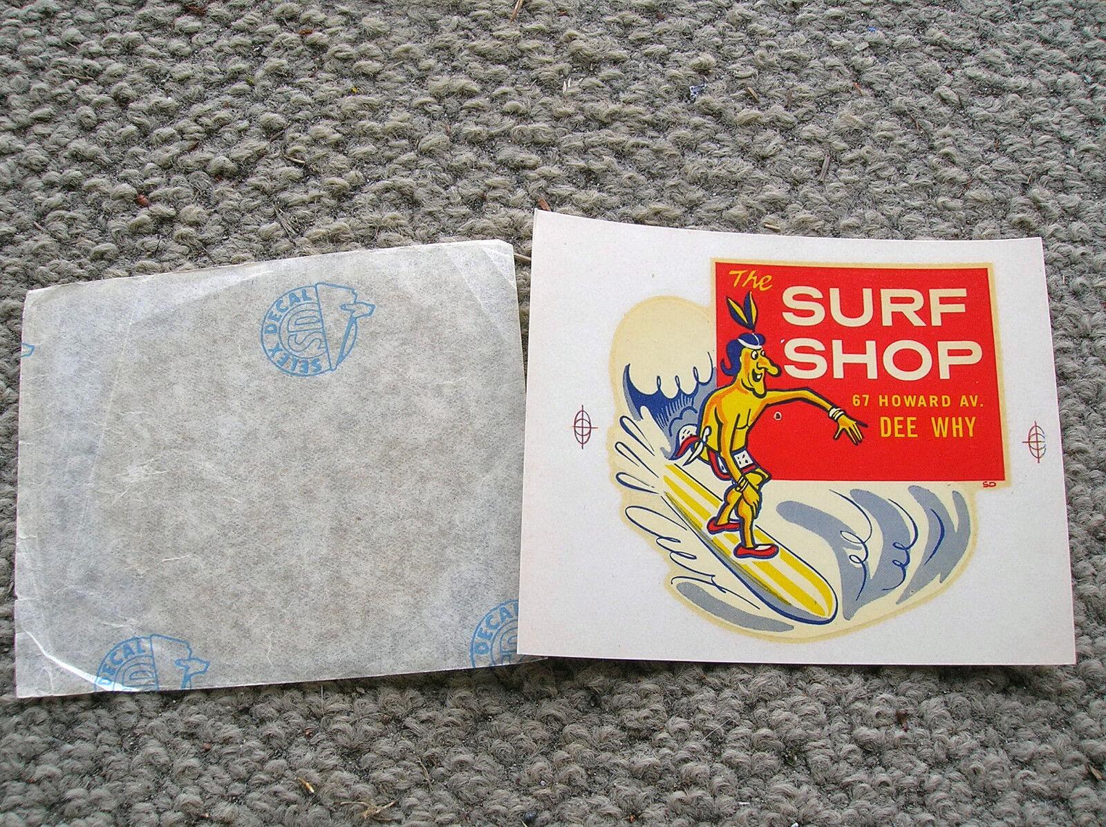 Vintage Surf Shop Dee por qué tobogán de agua hoja de calcomanías W Slip Surf Tabla De Surf 1960s