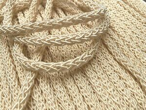 """Rayon Braided Cord 3/8"""" Dyeable Cording 3yds Made in Japan Vanilla Cream"""