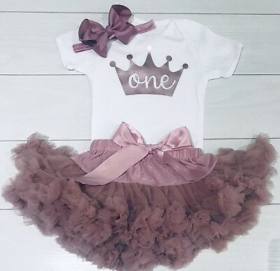 Luxury Girls 1st First Birthday Tutu Skirt Cake Smash Outfit Rose Gold /& Dusky