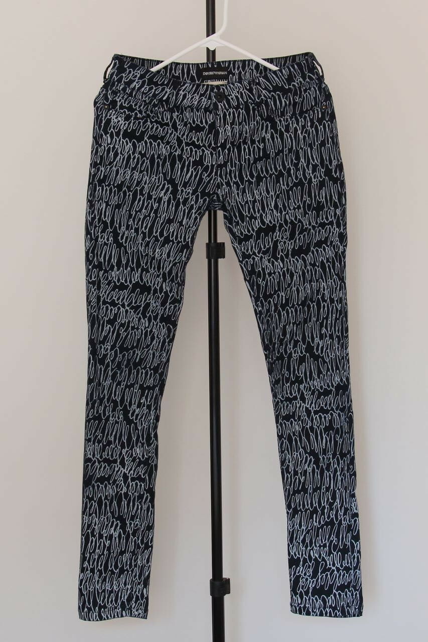 Emporio Armani casual Stretch Pantaloni, Navy-Bianco, Taglia 28, M