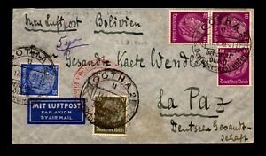 Germany June 6 1937 Flight Cover to Bolivia - L17454