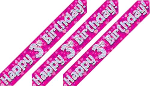 GIRL-FOIL BALLOON DISPLAY-TABLE CENTREPIECE-BANNER 3rd BIRTHDAY FEMALE AGE 3