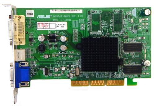 Asus Radeon 9200 128MB AGP DVI VGA Video Card 176180881 RV280-LE-A062S Rev.1.03