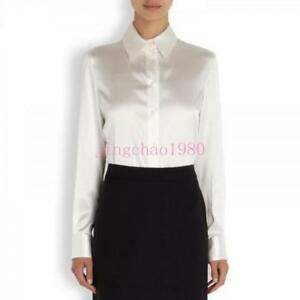 Womens-White-Satin-Silk-Business-Career-Dress-Formal-Shirt-1S-Blouse-Tops-Slim