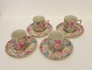Royal Crown China Japan Demitasse Set 4 Cups Saucers Mini Sussex Bouquet Floral