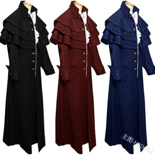 Hommes Femmes Unisexe Stand Collar moyen age Trench outwear Cosplay Pardessus B249