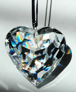 Huge-50mm-Heart-Crystal-Clear-Facet-Prism-in-Pouch-HOT-gift-2-inches