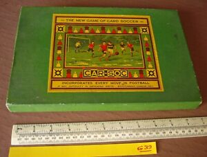 "1930s Vintage ""Car-Soc"" Soccer Board Game. Nice Box & Contents. *Board Missing*"