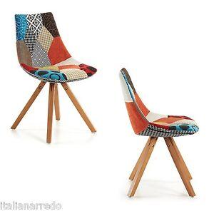 Sedia Tessuto Patchwork Legno Naturale Sedia Design Stile