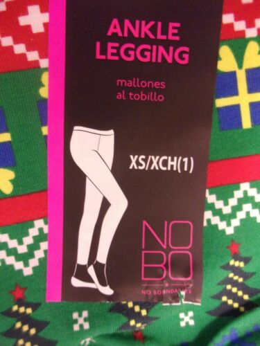 1 Green Cotton Span NWT No Boundaries Christmas Ankle Leggings Size Juniors XS