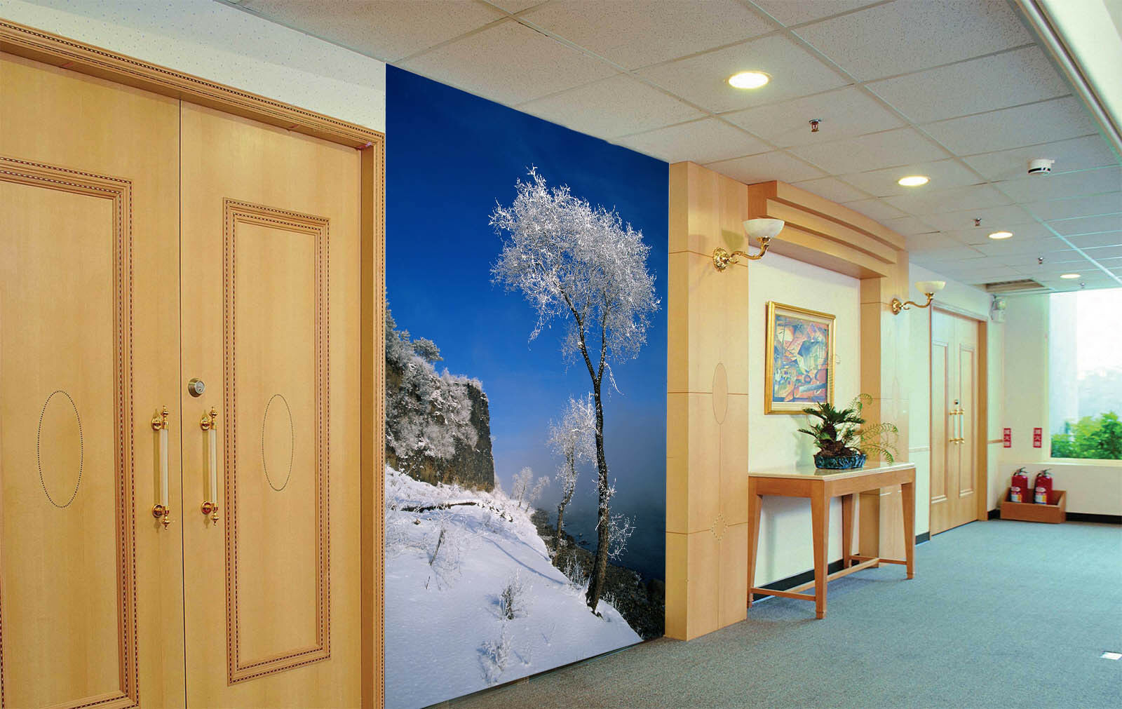 3D Cliff Snow Tree 466 Wall Paper Wall Print Decal Wall Deco Indoor Mural Summer
