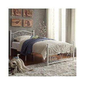 Details About Twin Platform Bed Frame White Headboard Footboard Metal Vintage Cheap Furniture