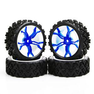 Caoutchouc-de-pneu-roue-bleue-4pcs-pour-1-10-RC-Rally-Racing-Off-Road-voiture