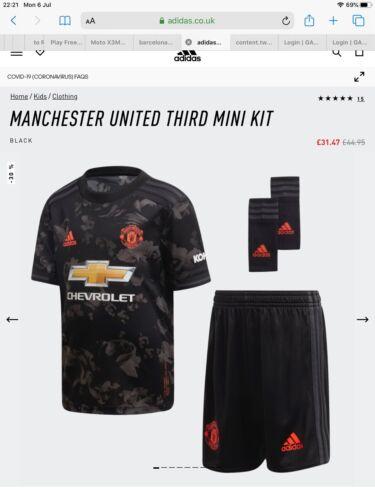 Manchester United Third Kit Black Mini Away Kit Full Kit. Age 3-4 Years Bnwt
