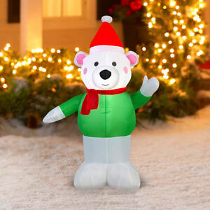 image is loading gemmy airblown inflatable polar bear 4 039 christmas - Polar Bear Inflatable Christmas Decorations