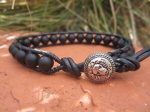 Handcrafted Gift Men/'s Magnetic Sports Surf Black Leather Bracelet Indian Button