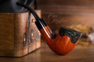Exclusive-Wooden-SMOKING-PIPE-FOR-TOBACCO-BRIAR-172-Rustick-Orange-BRUYERE-Box