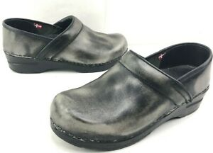 Sanita-Factory-Distressed-Gray-Leather-Stapled-Pro-Clogs-size-EU-38-US-8