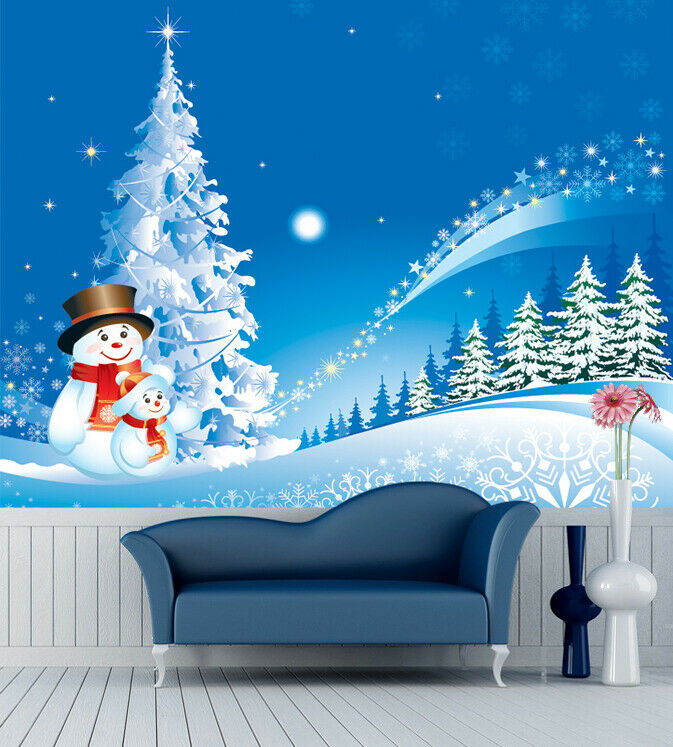 3D Snowman I306  Christmas Wallpaper Mural Sefl-adhesive Removable Sticker Amy