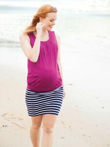 New JoJo Maman Bebe Maternity, Navy Breton Stripe Mini Skirt Small US 4/6 ;UK 8