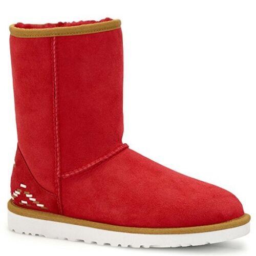 NIB Classic Short Rustic Weave Genuine Shearling Fur Boot 1009266 SRL RED SZ 7