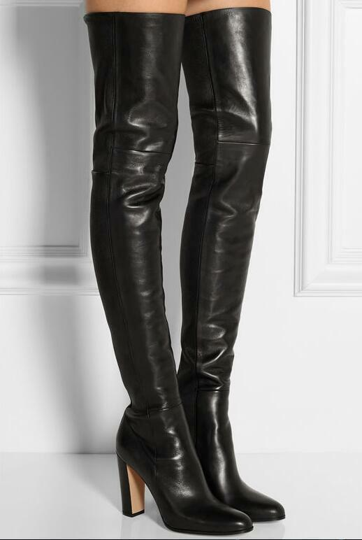 femmes Real Leather Over The Knee Thigh High Knight démarrage High Heel Block chaussures Sz