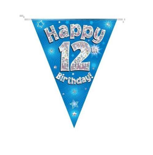 12TH Anniversaire Fête Bunting Bannière Bleu Holographique 11 Drapeaux 3.9 m