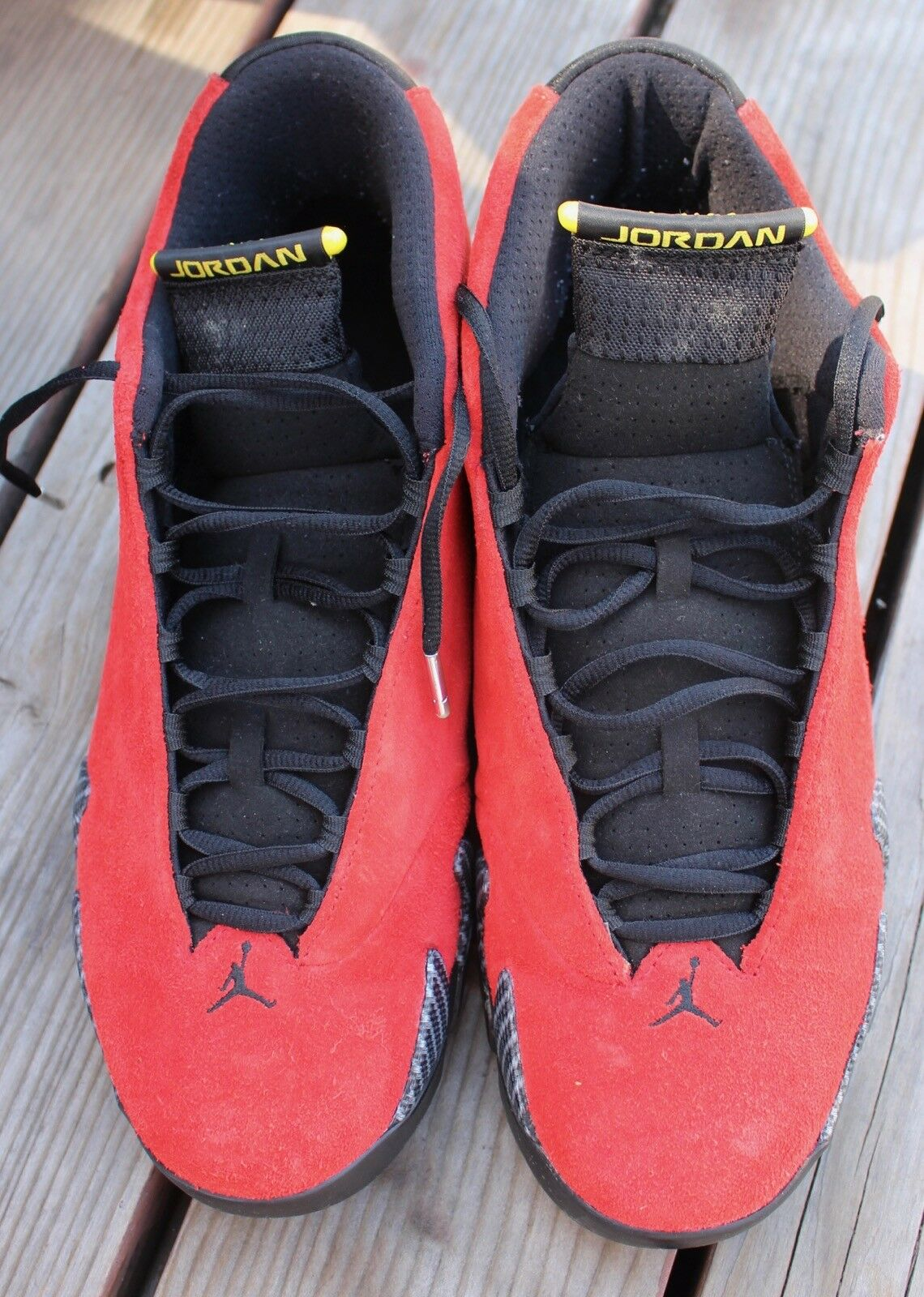 Nike air jordan xiv 14 retrò ferrari 654459-670 dimensioni dimensioni dimensioni 13  w / scatola  giallo rosso nero cc94c2