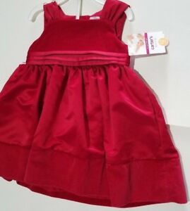 bb7bd9d73 Infant Girls Carters Dress Me Up Red Velvet   Satin Holiday Dress ...