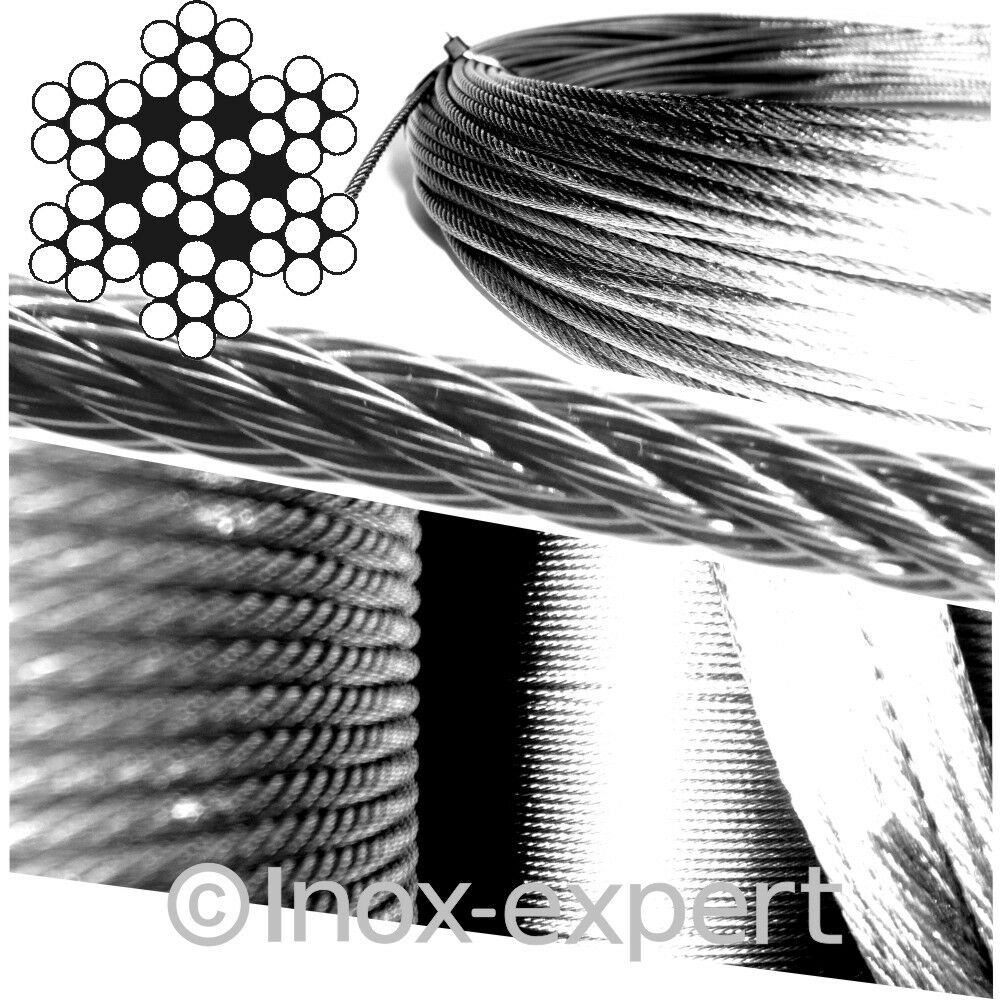 2,5 mm 7X7 Nirosta Drahtseil Edelstahl A4 Rostfrei Stahldraht-Seil Stahlseil Nirosta 7X7 V4A dd17a2