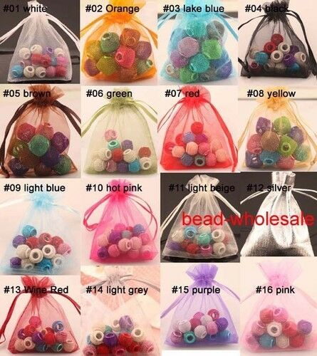 30-100Pcs Organza Transparent Jewelry Beads Pouch For Wedding Gift Candy Bags