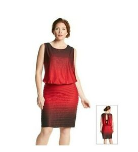Details about New R&M Richards/ Plus Size 14W/ Red/ Sleeveless Glitter  Blouson Dress