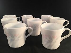 Corning-Pink-Trio-Floral-Coffee-Tea-Cups-3-1-2-034-Tall-3-034-Diameter-Set-of-8
