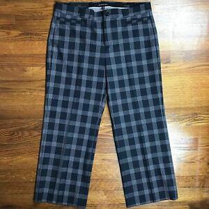NEW-Banana-Republic-Womens-Pants-Trousers-Sz-14-UK-10-US-Logan-Plaid-Crop