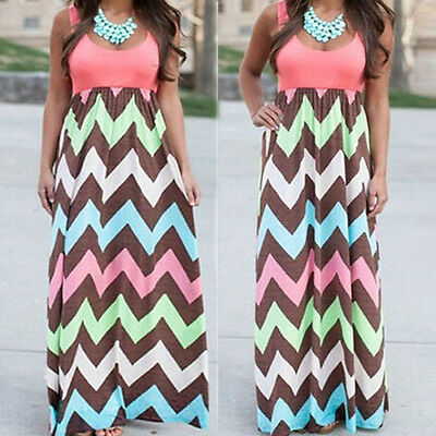 Womens Summer Zig zag Stripe Boho Sleeveless Long Dress Evening Party Maxi Beach