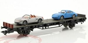 Marklin-HO-45056-Flatcar-with-Porsche-993-and-Boxster-Load-Porsche-70-Years