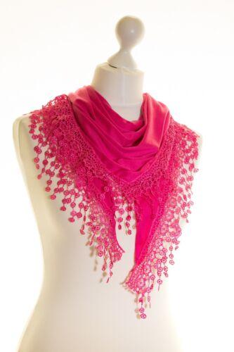 Ladies Jersey Triangle Triangular Soft Scarf Shawl Lace Edging Soft