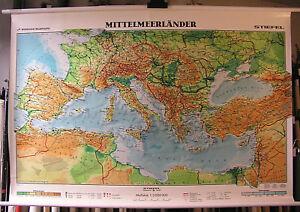 Mittelmeer Karte Europa.Details About Wall Map Small Mittelmeerkarte Europa Africa 157x107 1992 Mediterranean Sea