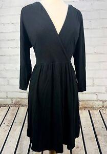 5cf2deb9596 BODEN Wrap Dress V-Neck Black Jersey Knit Long Sleeve Size 12R ...