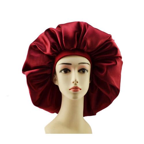 Big Size Satin Silk Bonnet Sleep Night Cap Head Cover Bonnet Hat For Spring hair