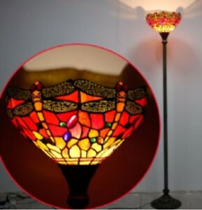 Tiffany Style Floor Lamp Torchiere Standing Light Stained Glass