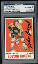 John Bucyk #2 signed autograph auto 1970 Topps Hockey Card PSA Slabbed