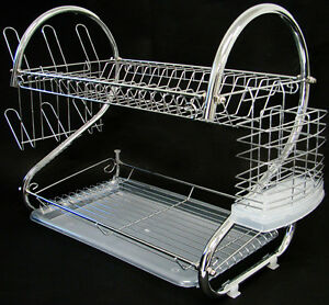 2 tiers dish drying rack drainer dryer with tray kitchen storage solid chrome ebay. Black Bedroom Furniture Sets. Home Design Ideas